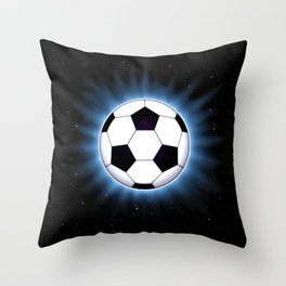 Spacey Soccer Ball Throw Pillow