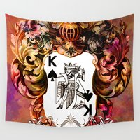 poker Wall Tapestries featuring Poker King Spades colored by jbjart