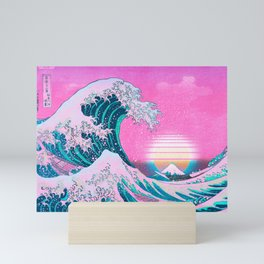 Vaporwave Aesthetic Great Wave Off Kanagawa Sunset Mini Art Print