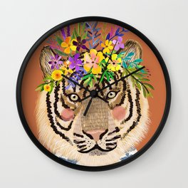Tiger with Floral Crown Art Print, Funny Decoration Gift, Cute Room Decor Wall Clock