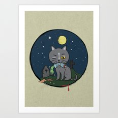 Cats love zombie meat! Art Print