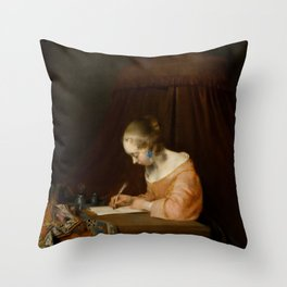 """Gerard ter Borch """"Woman writing a letter"""" Throw Pillow"""