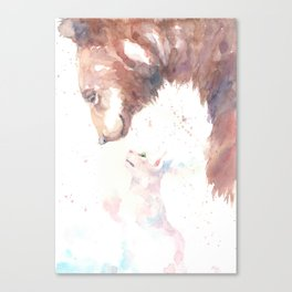 The bear, the cat and the tree of truth Canvas Print