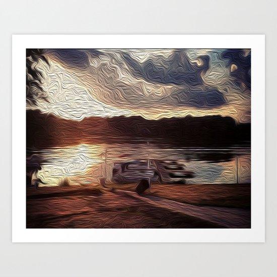 Oily Pontoons Art Print