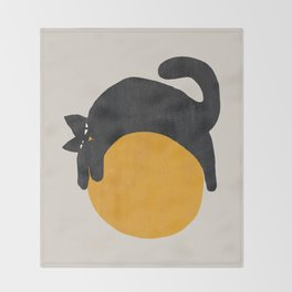 Cat with ball Throw Blanket
