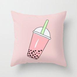 Strawberry Milk Bubble Tea Throw Pillow