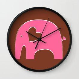 Pink Chocolate Elephant Wall Clock