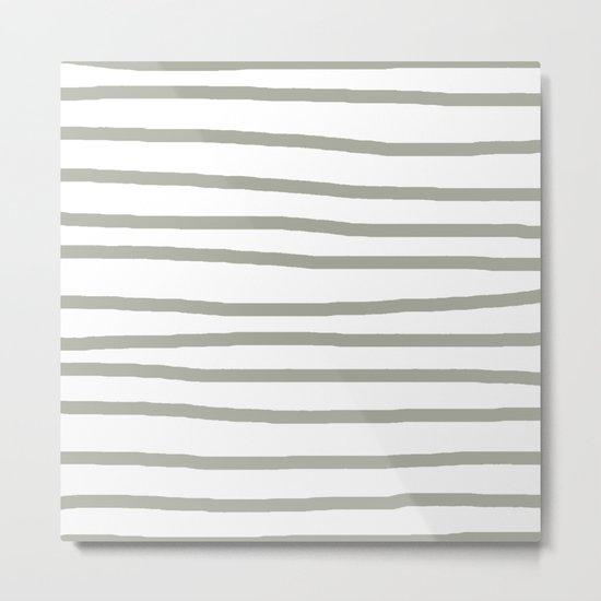 Simply Drawn Stripes Retro Gray on White Metal Print