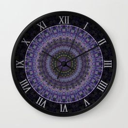 Mandala with violet and purple ornaments Wall Clock