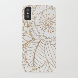 Elegant white faux gold glitter modern floral iPhone Case