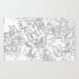 Large flowers pencil effect Rug