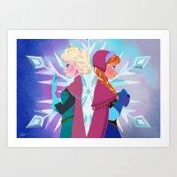 Elsa and Anna Art Print