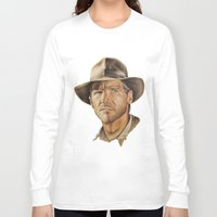 indiana jones Long Sleeve T-shirts featuring Indiana Jones by Ashley Anderson