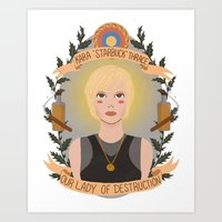 "karu kara Art Prints featuring Kara ""Starbuck"" Thrace by heymonster"