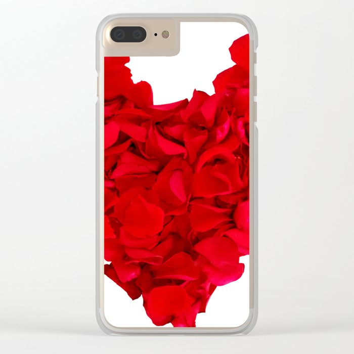 heart shape, rose petals Clear iPhone Case