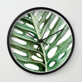 Circular Monstera Leaf Painting Wall Clock