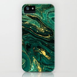 Abstract Pour Painting Liquid Marble Dark Green Teal Painting Gold Accent iPhone Case
