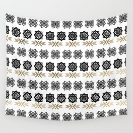 Black white faux gold watercolor hand painted scandinavian Wall Tapestry