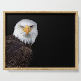 White Head Eagle with black background Serving Tray