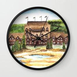 Old Faithful Inn Art, Yellowstone Painting, Birds and Berry Studio Wall Clock