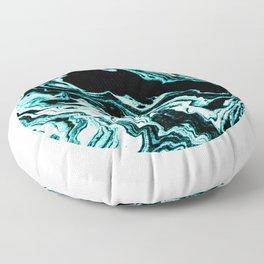 Suminagashi marble turquoise teal marbled japanese minimalist art decor Floor Pillow
