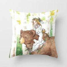 Bear Maiden Throw Pillow