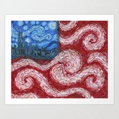 American Flag No. 2 (Starry American Night) Art Print