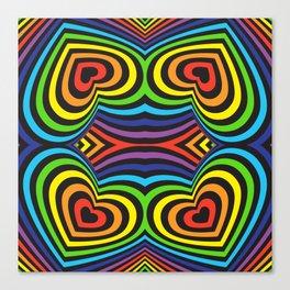 Three-dimensional volumetric pattern. colorful rainbow on black background Canvas Print