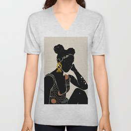 Black Hair No. 6 Unisex V-Neck