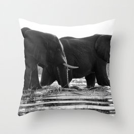 Elephants (Black and White) Throw Pillow