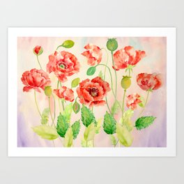 Watercolor Red Oriental Poppies Art Print