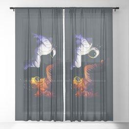 Yin Yang Astronaut Scuba Sheer Curtain
