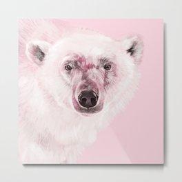 Polar Bear in Pink Metal Print