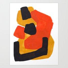 Minimalist Abstract Colorful Shapes Yellow Orange Black Mid Century Art Art Print