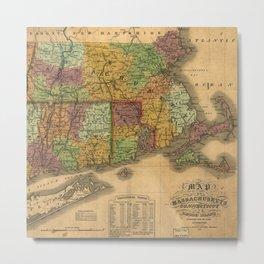1831 Rhode Island, Connecticut, and Massachusetts Wall Map Metal Print