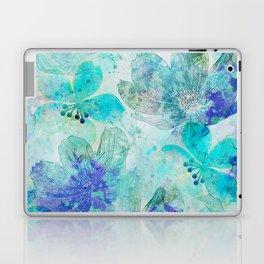 blue turquoise mixed media flower illustration Laptop & iPad Skin