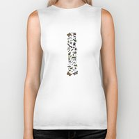 insects Biker Tanks featuring letter I - insects by judypleung