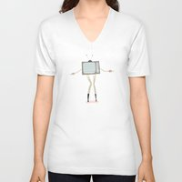 tv V-neck T-shirts featuring TV by Loop in the mind