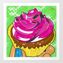 Pink Retro Pastry Cup Cake Art Print