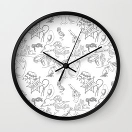 Cowboy Old West Dog Collage Wall Clock