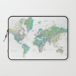 Watercolor world map in muted green and brown Laptop Sleeve