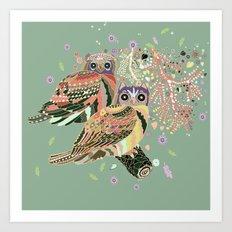 twin owls Art Print