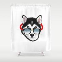 husky Shower Curtains featuring HUSKY by Rebeca Zum