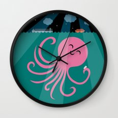 Octopus Selfie at Night Wall Clock