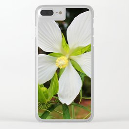 White Swamp Hibiscus Clear iPhone Case