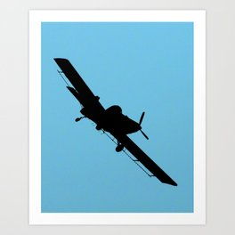 Crop Duster Silhouette Art Print