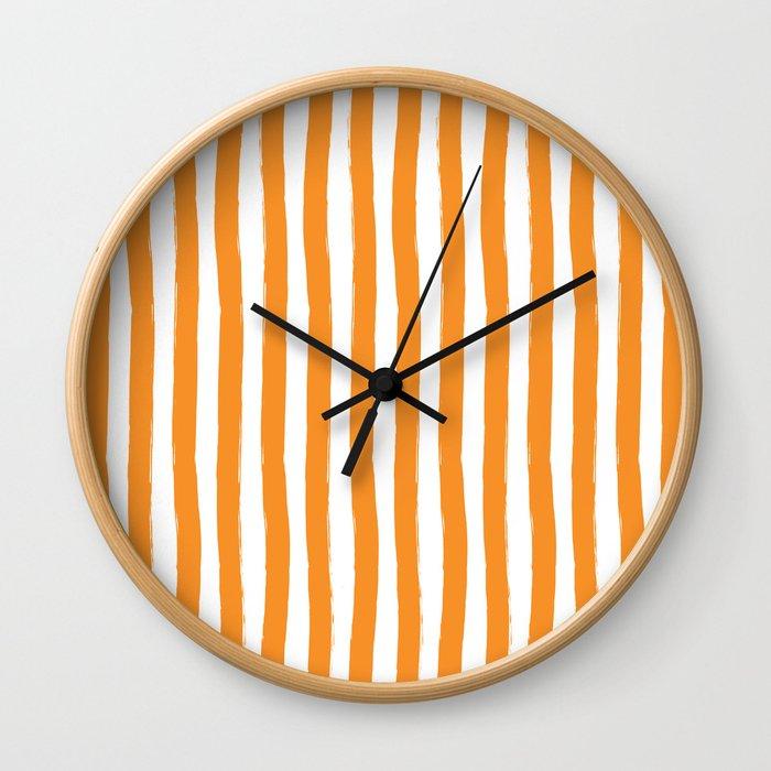 Orange and White Cabana Stripes Palm Beach Preppy Wall Clock