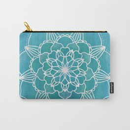 Flower Mandala Aqua Blue Carry-All Pouch