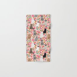 Cat floral mixed breeds of cats gifts for pet lovers cat ladies florals Hand & Bath Towel