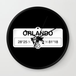 Orlando Florida Map GPS Coordinates Artwork with Compass Wall Clock